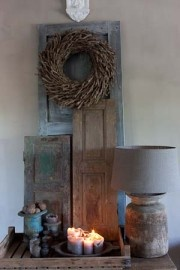 primitive display with wreath