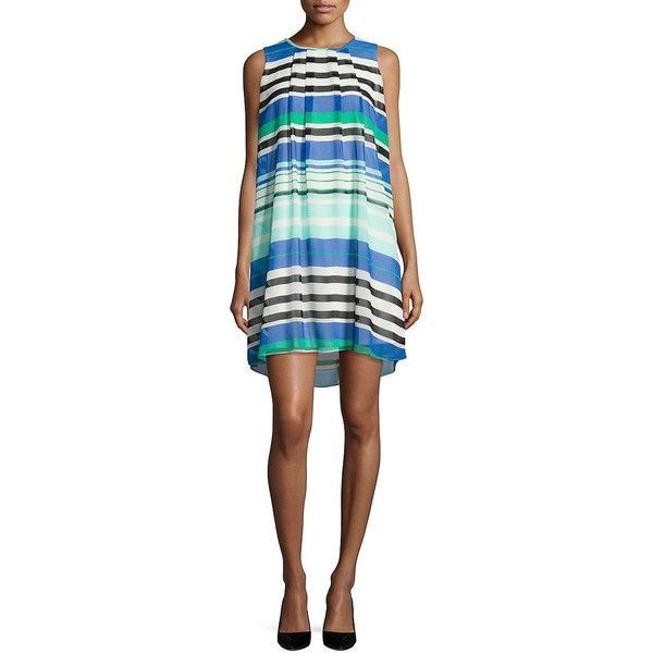 Calvin Klein Plus Women's Stripe Shift Dress ($97) ❤ liked on Polyvore featuring plus size women's fashion, plus size clothing, plus size dresses, manganese, sleeveless shift dress, pleated dresses, striped dresses, white striped dress and keyhole dress