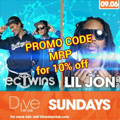 "Discount DIVE DAY CLUB use PROMO CODE ""MRP"" at checkout for 10% OFF! (www.DayClubTickets.com/Affiliate/MRP)!!! And remember to see www.MRP.club or www.MarkRondeauPresents.com for upcoming events! [#SanDiego #SD #DJLilJon #DiveDayClub #EDM #HouseMusic #SixOneNine #Gaslamp #EDMSD #MarkRondeauPresents #Daygo #HarrahsSoCal #DayClub #DiveSoCal #DTSD #ECTwins #DiveNeonNights #SDGoGo #SDClubbing #SundayFunday #Dive #SDSU #SDDJ #LaJolla #LDW #UCSD #Oceanside #Harrahs #SDNightlife #DiveDolls]"