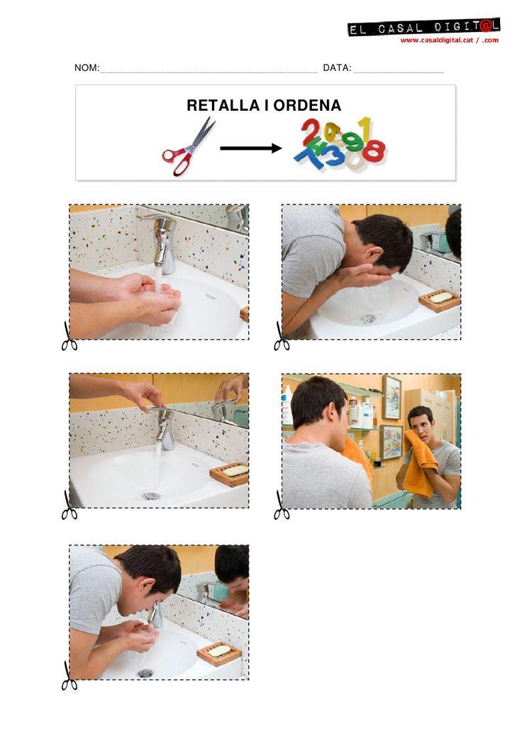 Láminas para trabajar las secuencias temporales así como las nociones referidas al espacio y al tiempo.  4_RECORTAR_ORDENAR (Lavar cara)