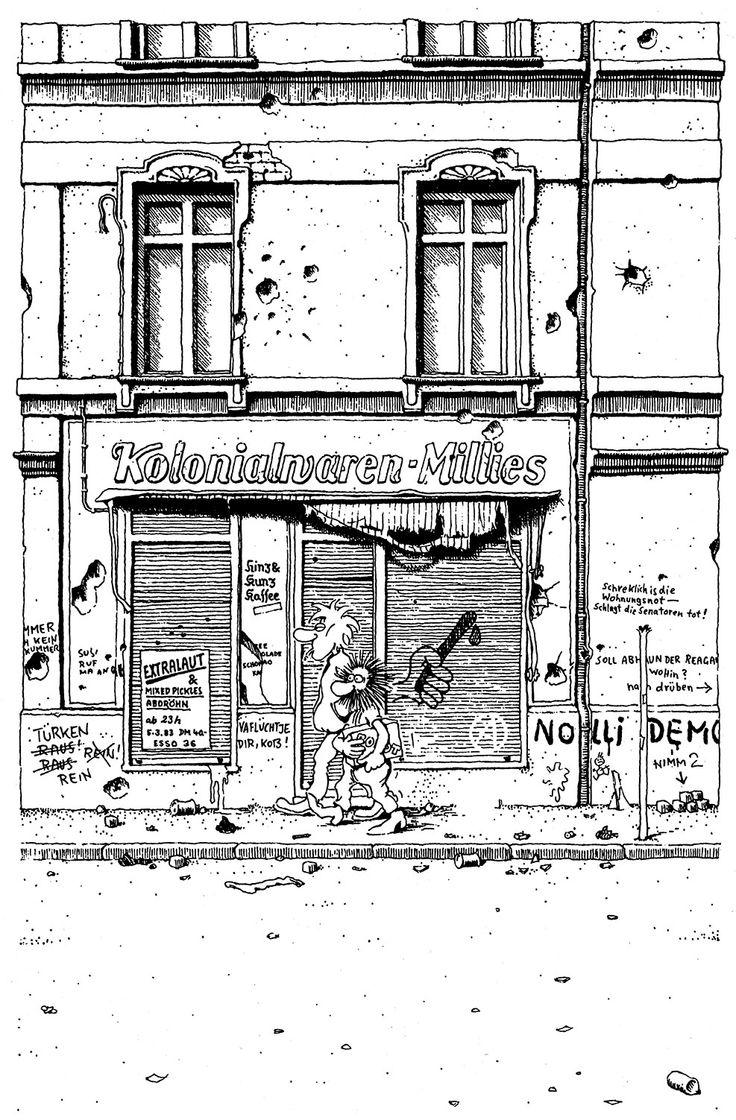 "Gerhard Seyfried - ""Ein Bulle sieht rot!"" -  IRRWITZ Comics, 1983, (Seite 4/8 Seiten.) Auf facebook:  https://www.facebook.com/gerhardseyfried.de/photos/ms.c.eJw9zMkNADEIA8COIsBc7r~_xlULY58hHO0h1NRiy~_vRYxnwGmhSErXntuf2KjBKJdc9en0Mn~;z1~;sA~_FaRoL.bps.a.843991305657022.1073741828.123415681047925/843991412323678/?type=1&theater"