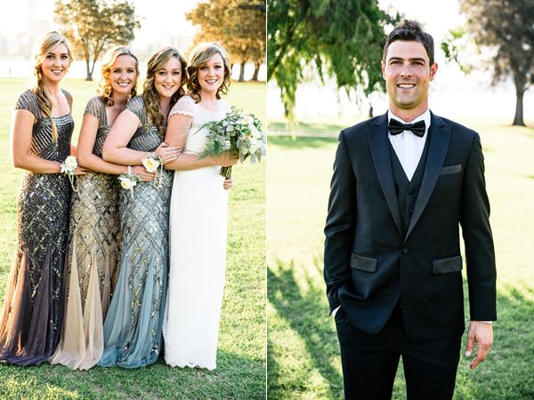 bridesmaids and groom - photo by Carla Atley Photography http://ruffledblog.com/glam-gatsby-inspired-wedding-in-perth