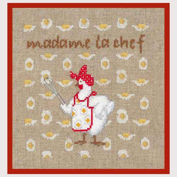 kit de broderie au point de croix points comptés : cuisine madame la chef présentation cadeau (dans un œuf plastique) réf. 2722