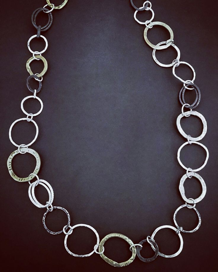 Silver brass and oxidised silver 100% handmade necklace