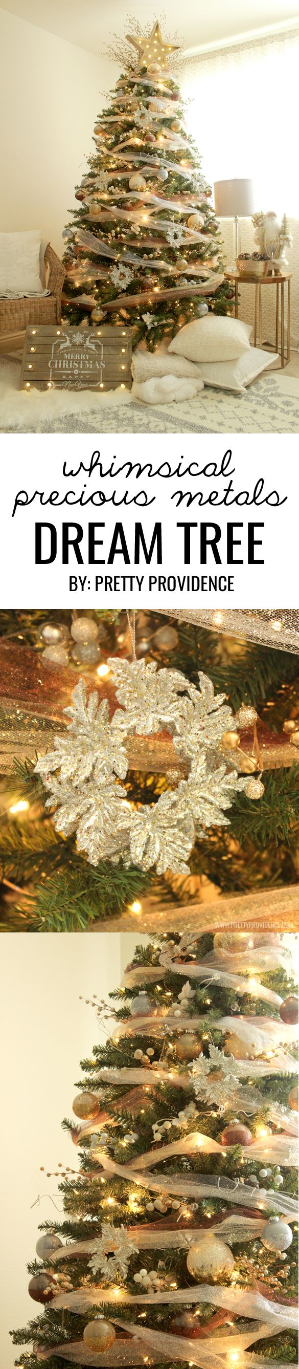 I am in love with this whimsical precious metals Christmas tree! Doesn't it just make you want to curl up with a blanket and watch lights dance for hours?