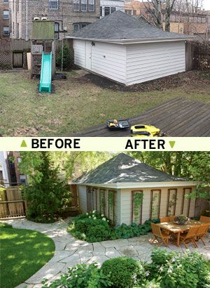 How to transform a sad garage yard into a thing of for Garden design ideas before and after