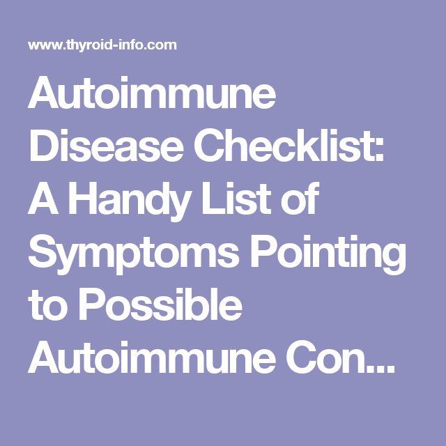 Autoimmune Disease Checklist:  A Handy List of Symptoms Pointing to Possible Autoimmune Conditions
