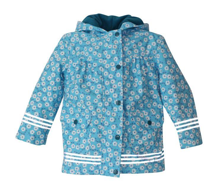 i Rock the Block Girls' Hi-Vis Rain Jacket  Blue Flower