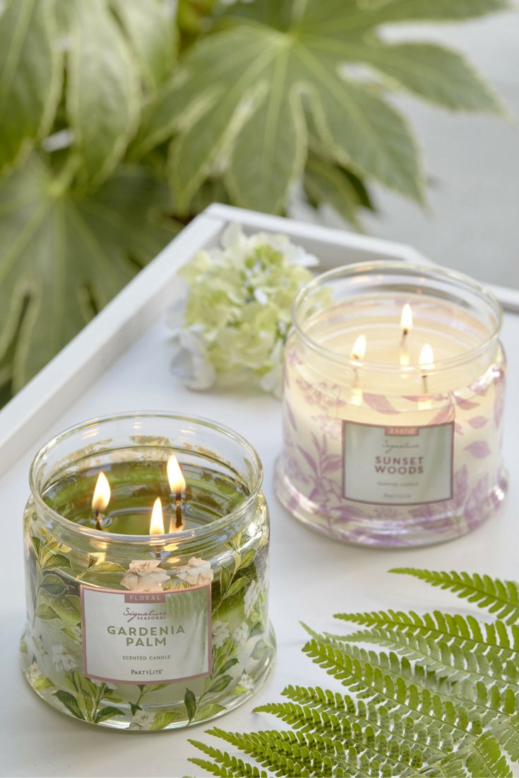 Gardenia Palm + Sunset Wood! Create your Signature fragrance with PartyLite's specially formulated candles.