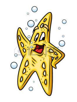 cartoon starfish: Joyful Cartoon Starfish Illustration
