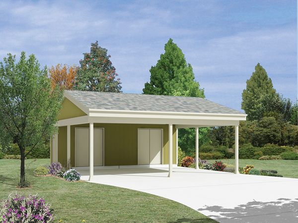 Country Two Car Carport With Storage 002D-6045 | Garage Plans and More