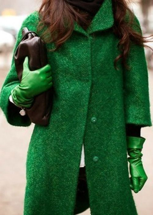 emerald coat with green leather gloves