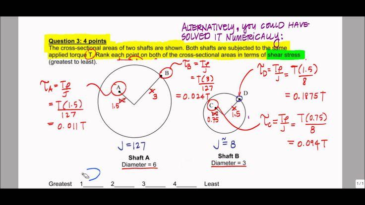 Torsional Shear Stress, Polar Moment of Inertia - Exam Problem, F12  (Boysenberry)