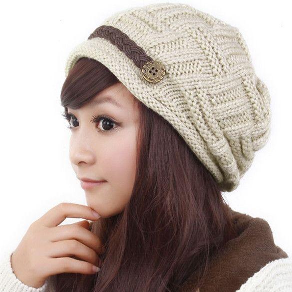 Winter Plicate Baggy Beanie Women's Knitted Ski Hat Cap