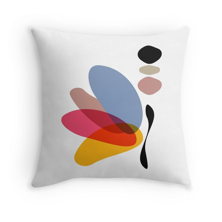 Modern Abstract Colorful Butterfly Illustration by #PrintsProject #homedecor #pillow #butterfly #redbubble