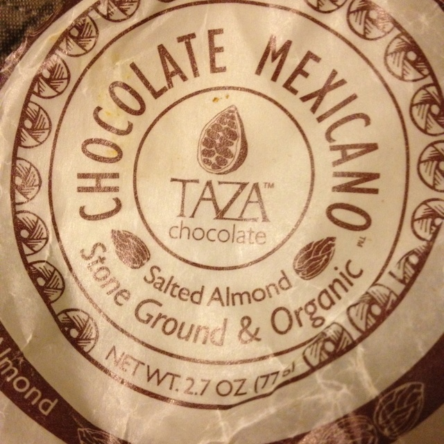 Chocolate Mexicano taza chocolate almond flavor  This is just like eating hot cocoa or brownie in a bar! Sugary yet rich. Wonderful with a cheese plate ( I suggest gruyere pairing). Picked up at my local Harmon's.