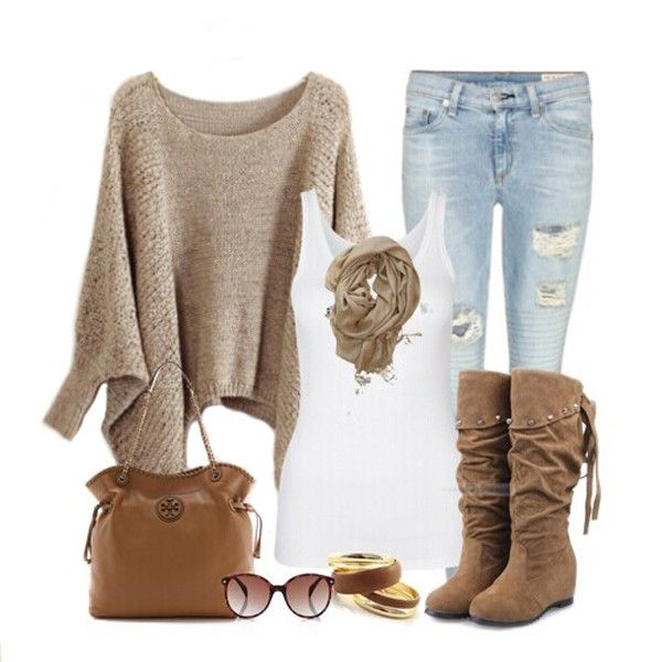 Love this Whole Outfit! Khaki Irregular Hollow-out Bat Sleeve Blend Sweater #Khaki #Pullovers #Sweaters  #Tops #Boots #Jeans #Scarves #Outfit #Ideas