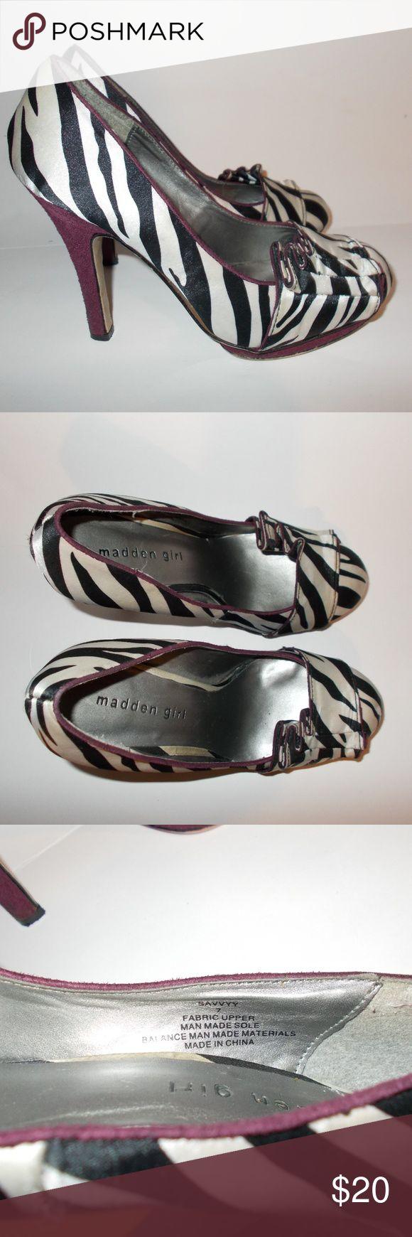Madden Girl zebra heels 7 pumps purple Madden Girl zebra heels 7 pumps purple Madden Girl Shoes Heels