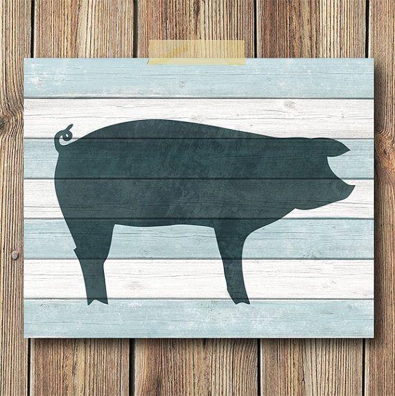 Pig Art Print 8x10 Print Wall art Kitchen art Blue by CheekySheep, $15.00