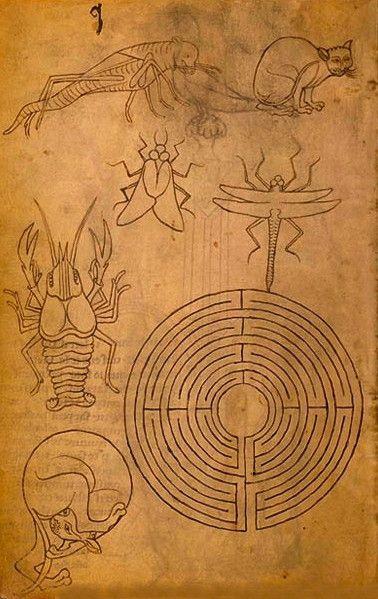 Villard de Honnecourt (13e siècle) dessin d'un labyrinthe dans le carnet de Villard de Honnecourt, Bibliothèque nationale de France