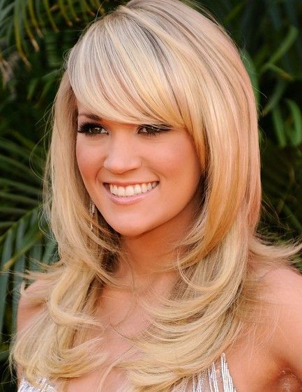 Long Hairstyles With Bangs | Carrie Underwood Long Sleek Hairstyle With Bangs - Style Style Style!
