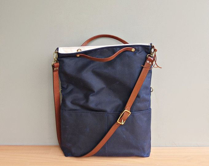 Womens Waxed Canvas Tote in Navy, Blue Convertible Messenger Bag with Leather Strap, Nautical Waxed Canvas Bag, Crossbody Purse, Made in USA