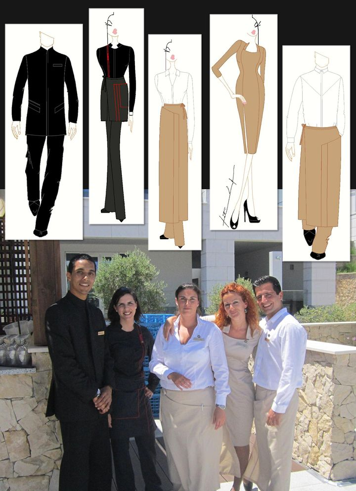 Chic hotel uniform designs. Portuguese fashion designer Fátima Lopes designs for Conrad Algarve.