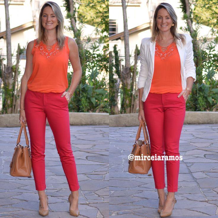 Look de trabalho - look do dia - look corporativo - moda no trabalho - work outfit - office outfit -  spring outfit - look executiva -color block - vermelho e laranja - white - red and orange
