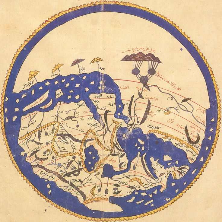 Map of the world in 1154 according to a Morocco cartographer.