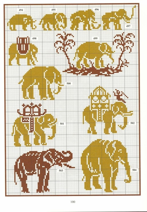cross stitch elephants