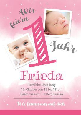Tolle Trendy Einladungskarte Zum 1 Geburtstag In Rosa