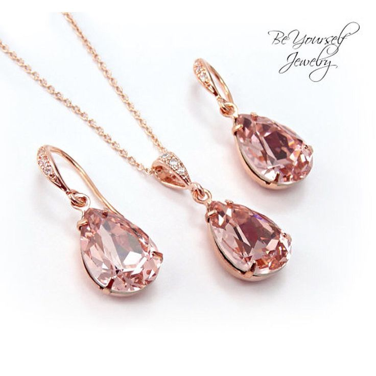 ⏰ Looking for last minute wedding gifts?   We have several designs that ship on the same or next day like this super feminine Swarovski blush jewelry set in rose gold! #beyourselfjewelry #rosegold #blush #pastelpink