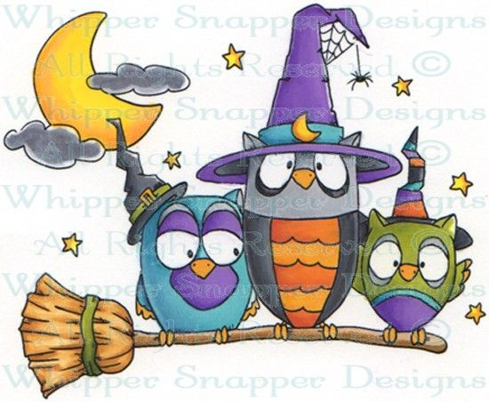 Broomstick Owls - Halloween Images - Halloween - Rubber Stamps