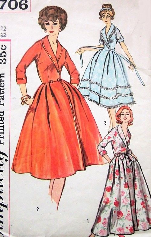 d0bb486b49 1950s CLASSY Housecoat Robe Pattern SIMPLICITY 2706 Full Skirted Hostess  Gown Front Wrap Housecoat Shawl Collar