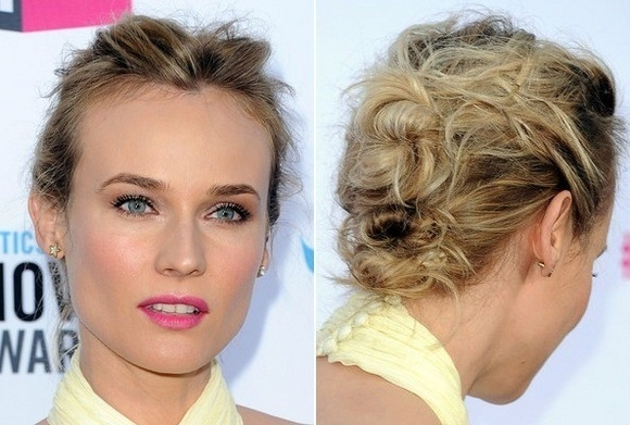 Messy hair up do for medium length hair