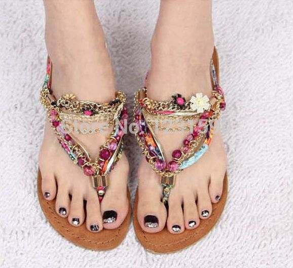 2015 sandalias de moda de mujer con pedrería   huaraches ...