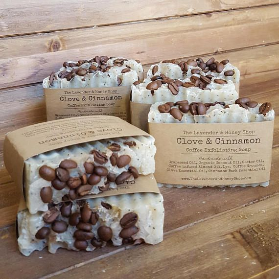 Time to wake up! Our coffee exfoliating soap helps to remove dirt and dead skin cells and leaves your skin feeling smooth and fresh. The scent of cinnamon and clove essential oils blends beautifully with the subtle smell of raw coffee beans. Cinnamon Bark Essential Oil: Cinnamon