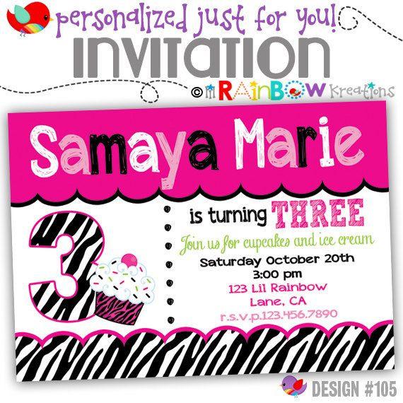 105: DIY  Zebra Print Cupcake 2 Party Invitation Or Thank You
