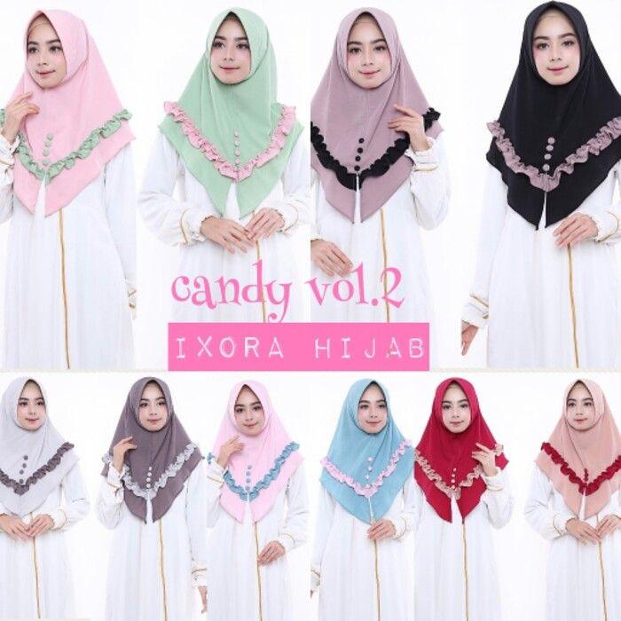 Jilbab Instan Candy bubble pop, Jilbab instan dengan pad Antem dihiasi Kancing Buton dibagian depan dan Rempel pada sekeliling jilbab