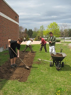 Breaking ground for The People's Garden - campus community garden at Algoma University