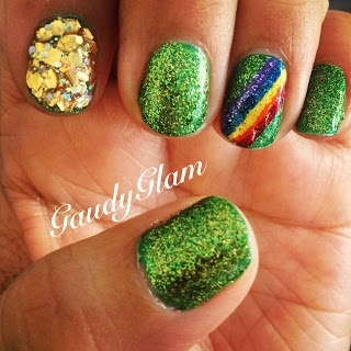 Easy St. Patrick's Day Nails --- less chunky gold, plain green not glitter (?)