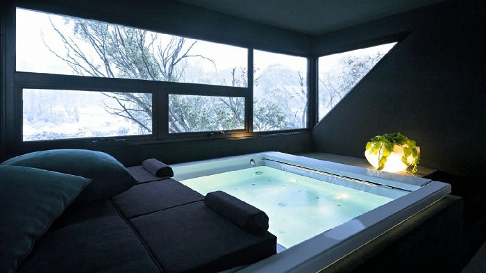Doesn't get much better. Hot tub looking out onto the snow