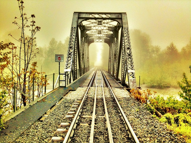 Train bridge in the morning fog