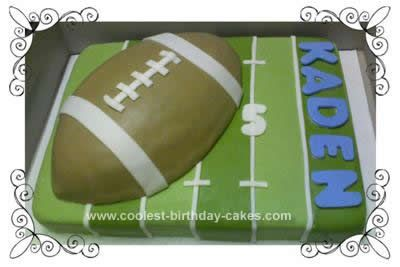 Homemade Football Cake Idea: This Football Cake Idea was a birthday cake for my best friend's 5 year old. I bought the Wilton football cake pan, and used an 11x15 sheet for the field.