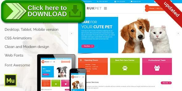 [ThemeForest]Free nulled download Rukpet - Pet Care Services Template from http://zippyfile.download/f.php?id=28781 Tags: animal, animal care, cat, dog, grooming, muse, pet care, pet center, pet clinic, pet grooming, pet services, pets hospital, vet