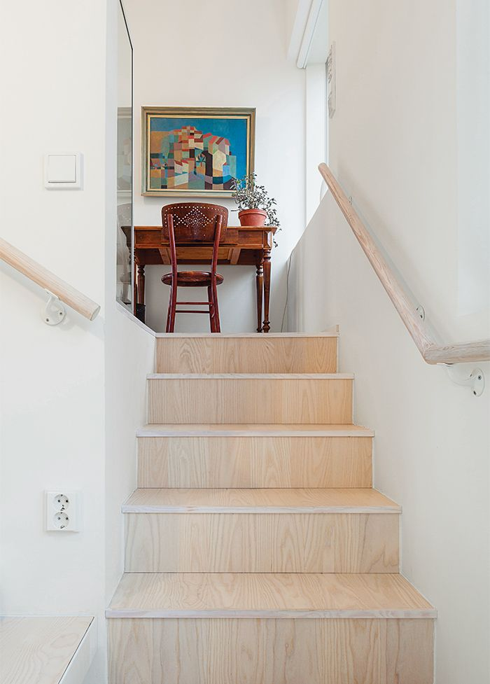 The flooring and stair risers are European ash, treated with a varnish that was tinted one percent white.