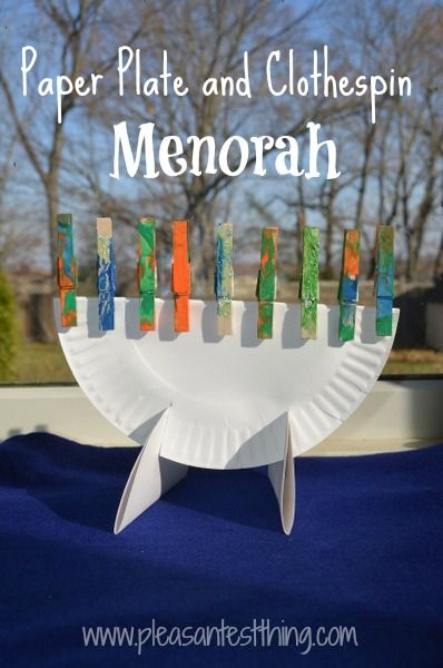 Paper plate and clothespin Menorah - easy Chanukah craft!