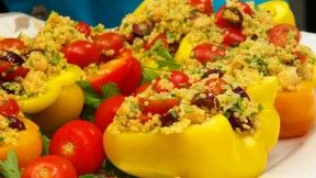 Chickpea and Quinoa Salad in Pepper Bowls | Jazzy Vegetarian, PBS Food