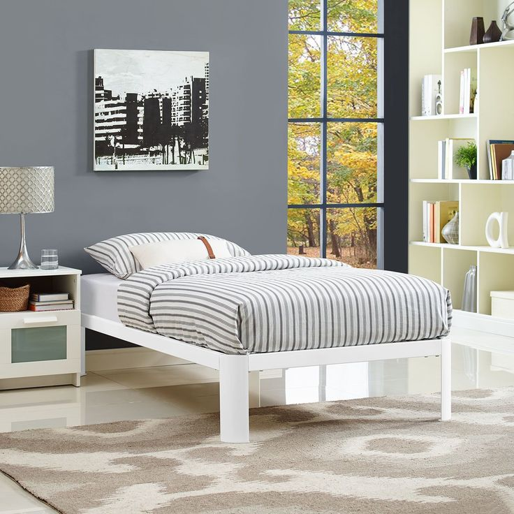 corinne bed frame in white by modway - Twin Bed Frames