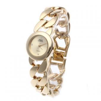 Reloj Cuarzo Pulsera Correa Acero Inoxidable Color Oro Circonita Mujer Regalo